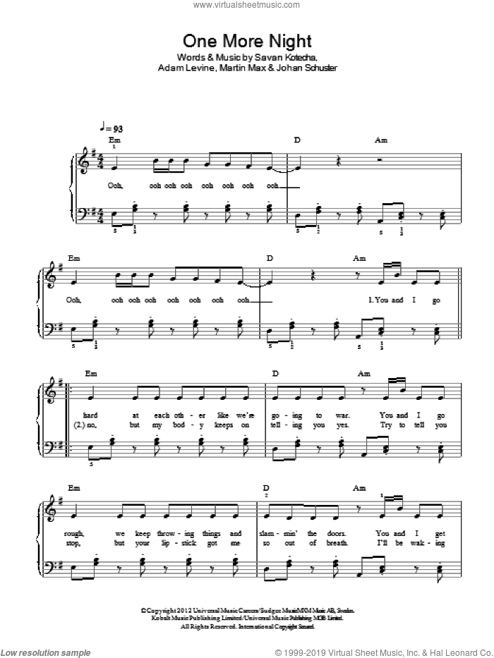 One More Night sheet music for piano solo by Maroon 5, Adam Levine, Martin Max, Savan Kotecha and Shellback, easy skill level