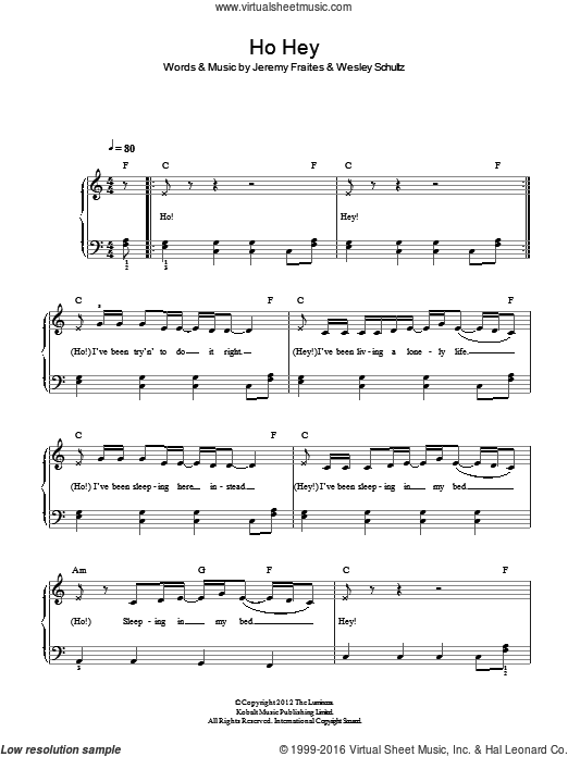 Ho Hey sheet music for piano solo by The Lumineers. Score Image Preview.