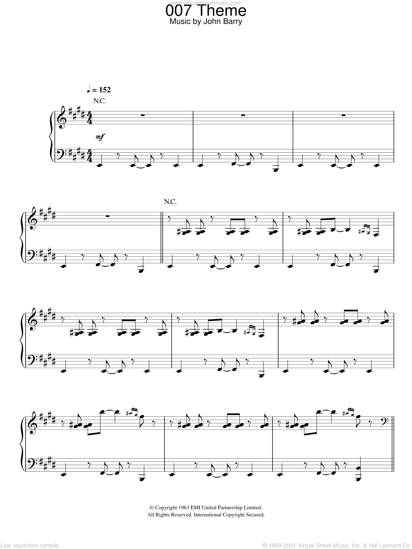 007 Theme sheet music for piano solo by John Barry, intermediate skill level