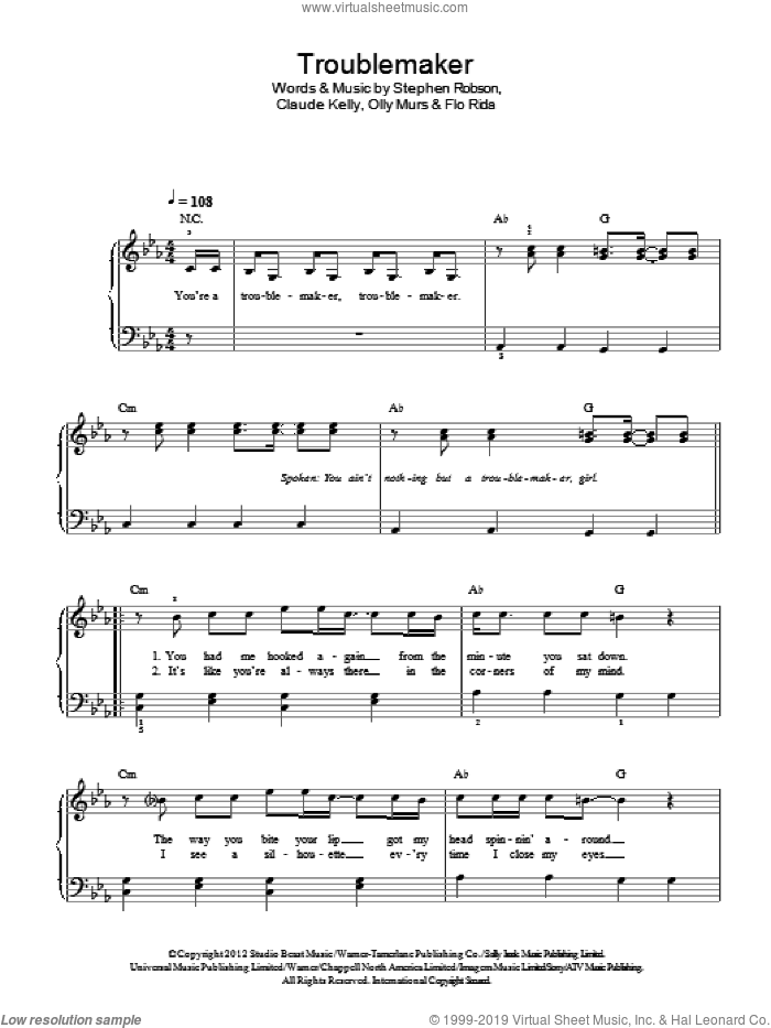 Troublemaker sheet music for piano solo by Olly Murs, Claude Kelly, Flo Rida and Steve Robson, easy skill level