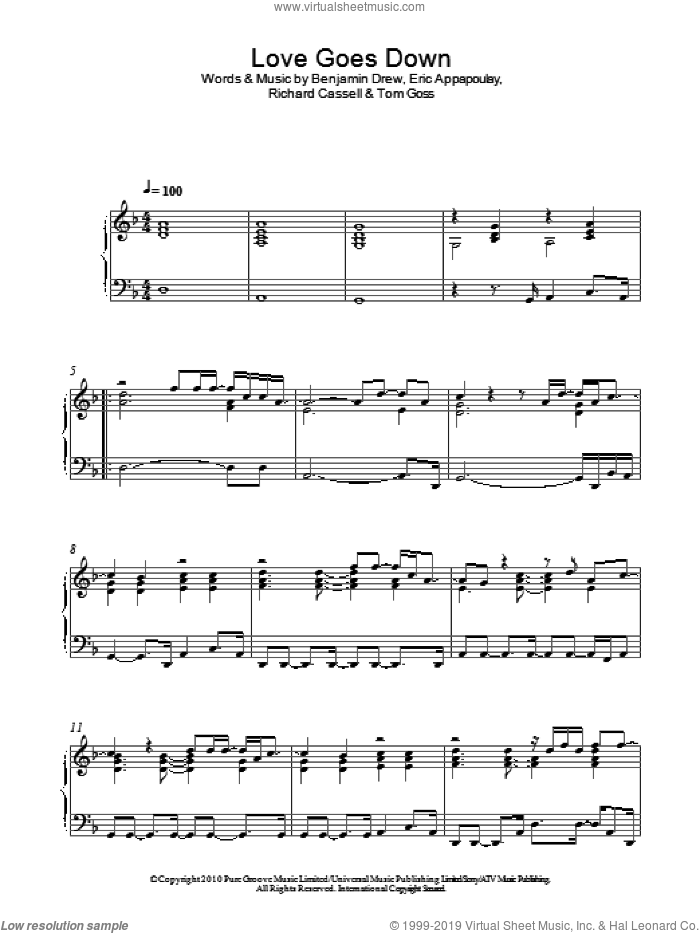 Love Goes Down sheet music for piano solo by Tom Goss