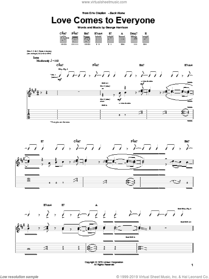 Love Comes To Everyone sheet music for guitar (tablature) by Eric Clapton and George Harrison, intermediate guitar (tablature). Score Image Preview.