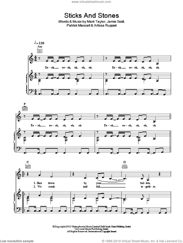 Sticks And Stones sheet music for voice, piano or guitar by Arlissa, Arlissa Ruppert, Jamie Scott, Mark Taylor and Patrick Mascall, intermediate. Score Image Preview.