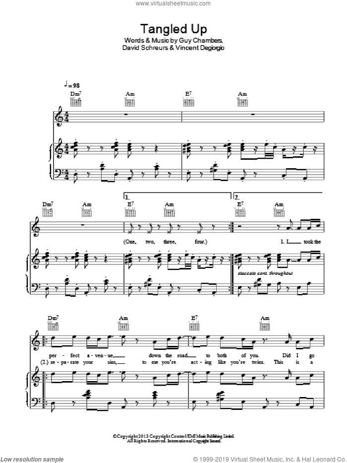 Tangled sheet music for voice, piano or guitar by Caro Emerald, David Schreurs, Guy Chambers and Vincent Degiorgio, intermediate