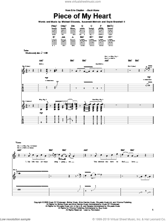 Piece Of My Heart sheet music for guitar (tablature) by Susannah Melvoin, Eric Clapton, Doyle Bramhall and Mike Elizondo. Score Image Preview.