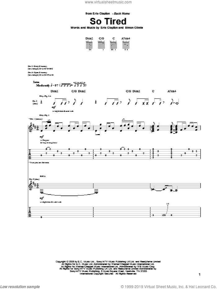 So Tired sheet music for guitar (tablature) by Eric Clapton and Simon Climie. Score Image Preview.