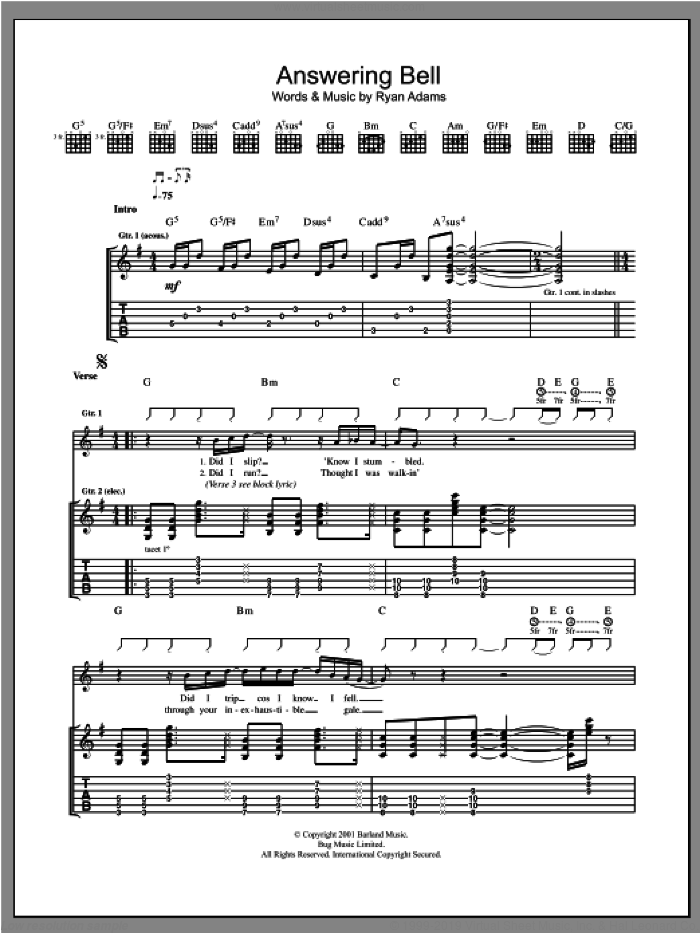 Answering Bell sheet music for guitar (tablature) by Ryan Adams, intermediate skill level