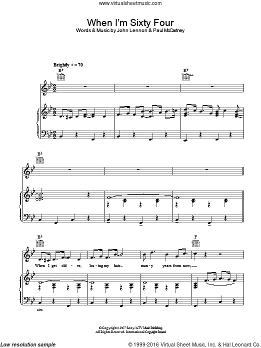 When I'm Sixty-Four sheet music for voice, piano or guitar by John Lennon, Paul McCartney and The Beatles. Score Image Preview.
