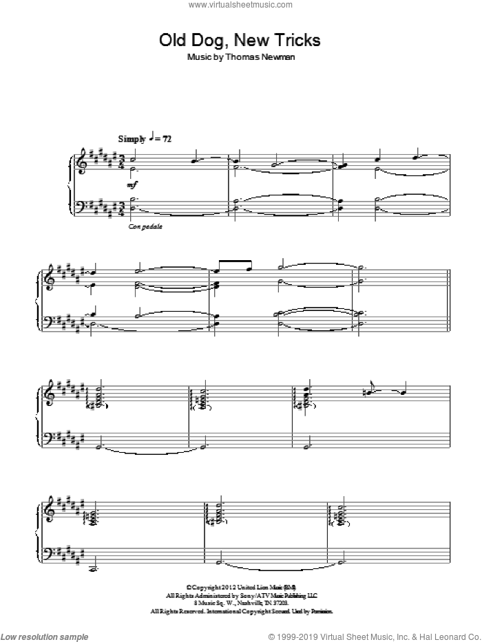 Old Dog, New Tricks sheet music for piano solo by Thomas Newman, intermediate. Score Image Preview.