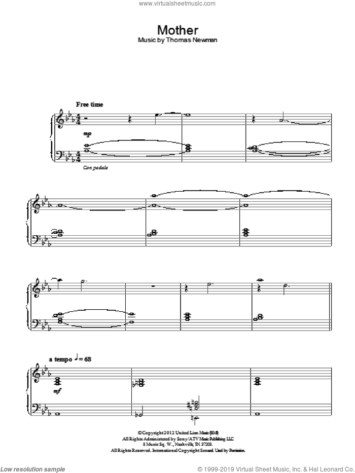 Mother sheet music for piano solo by Thomas Newman. Score Image Preview.