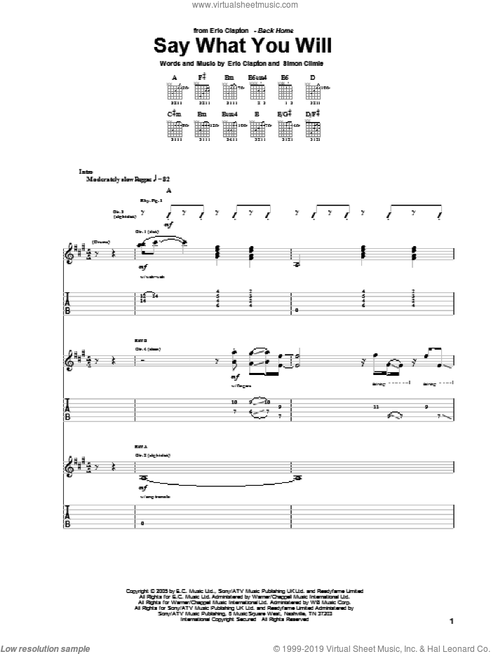 Say What You Will sheet music for guitar (tablature) by Simon Climie and Eric Clapton