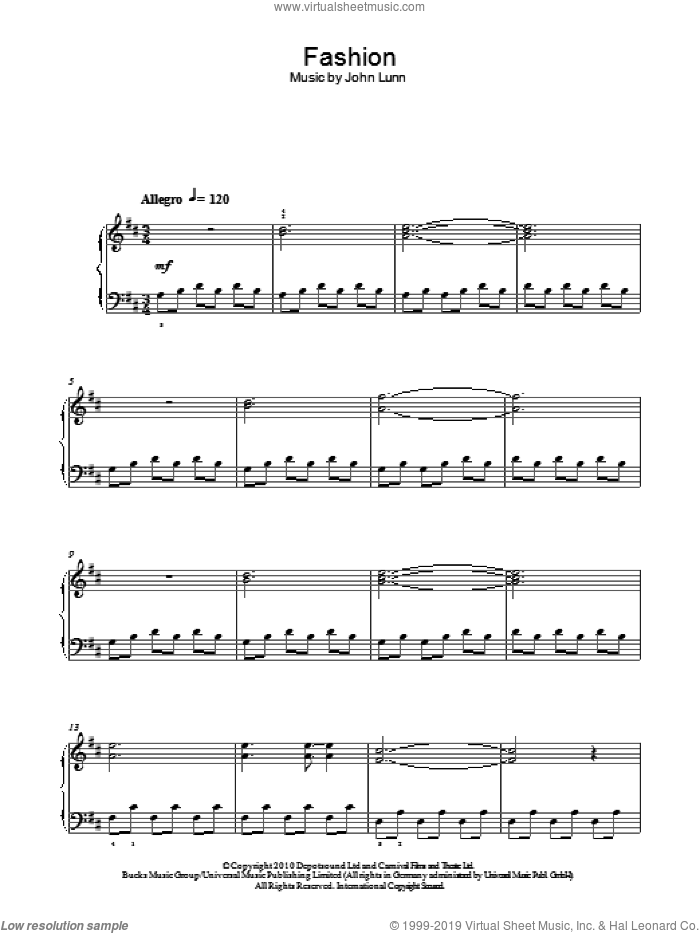 Fashion sheet music for piano solo by John Lunn. Score Image Preview.