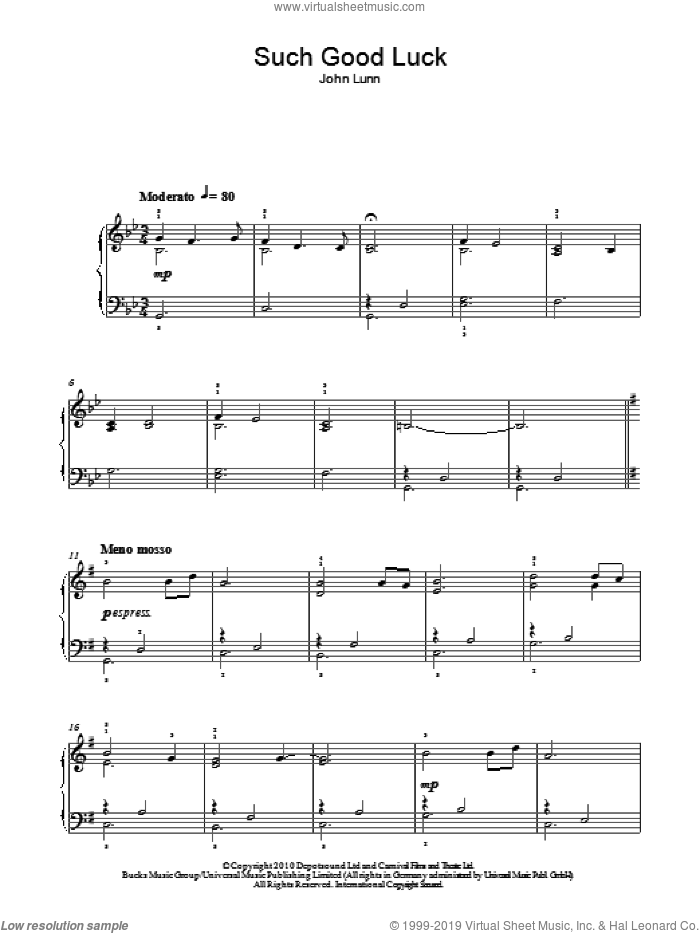 Such Good Luck sheet music for piano solo by John Lunn, wedding score, easy skill level