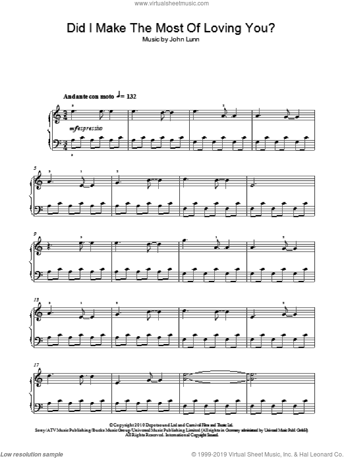 Did I Make The Most Of Loving You sheet music for piano solo by John Lunn and Don Black, easy skill level
