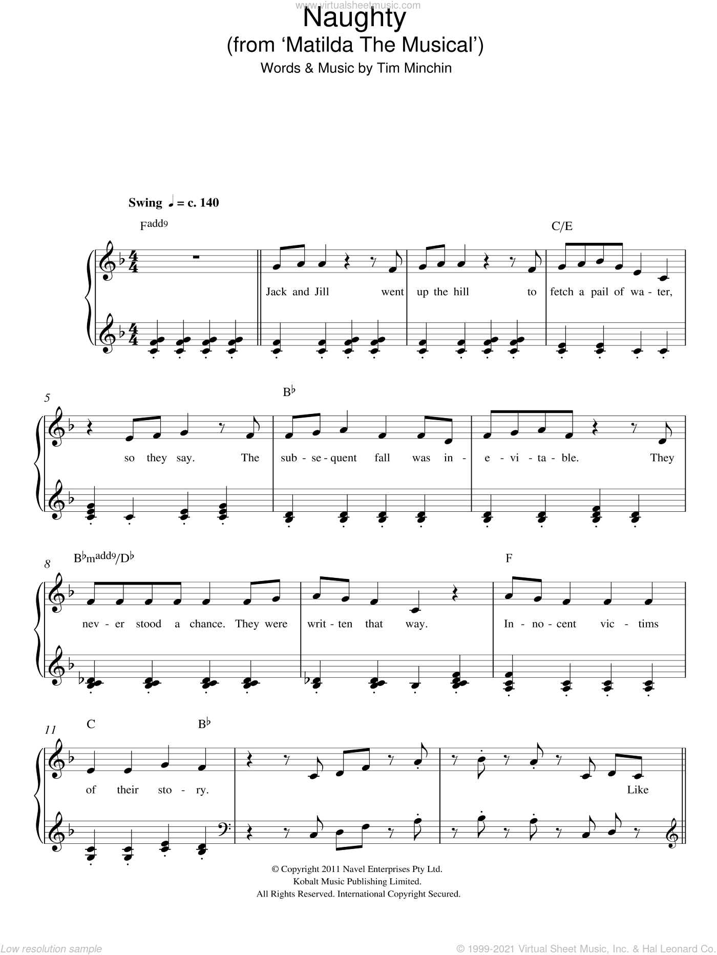 Naughty (From 'Matilda The Musical') sheet music for piano solo by Tim Minchin. Score Image Preview.