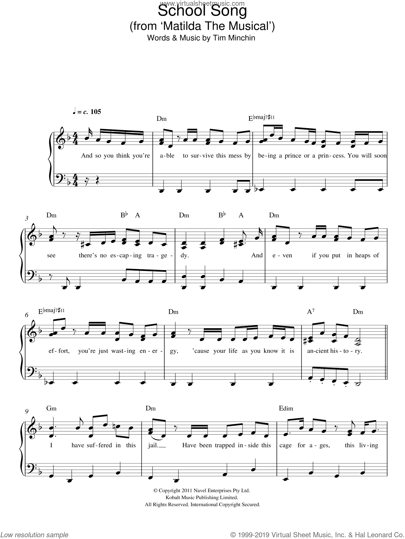 School Song (From 'Matilda The Musical') sheet music for piano solo by Tim Minchin