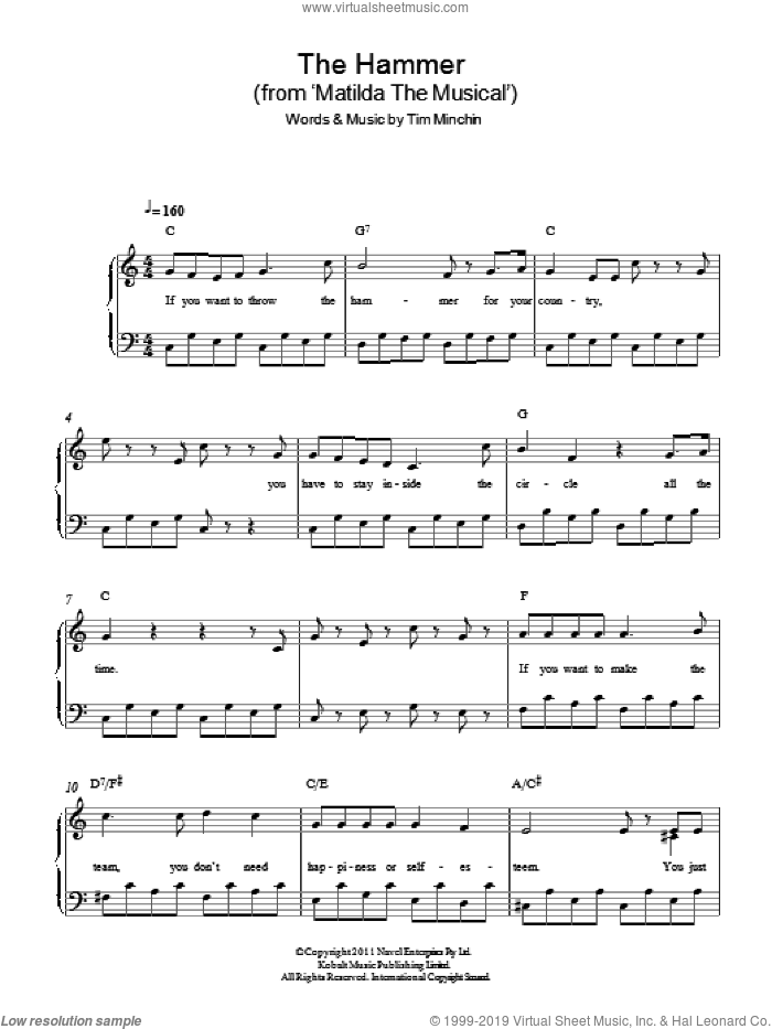 The Hammer ('From Matilda The Musical') sheet music for piano solo by Tim Minchin, easy. Score Image Preview.