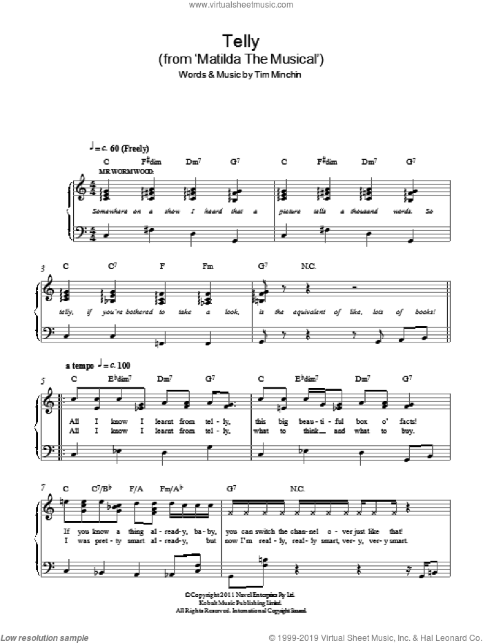 Telly ('From Matilda The Musical') sheet music for piano solo by Tim Minchin, easy skill level
