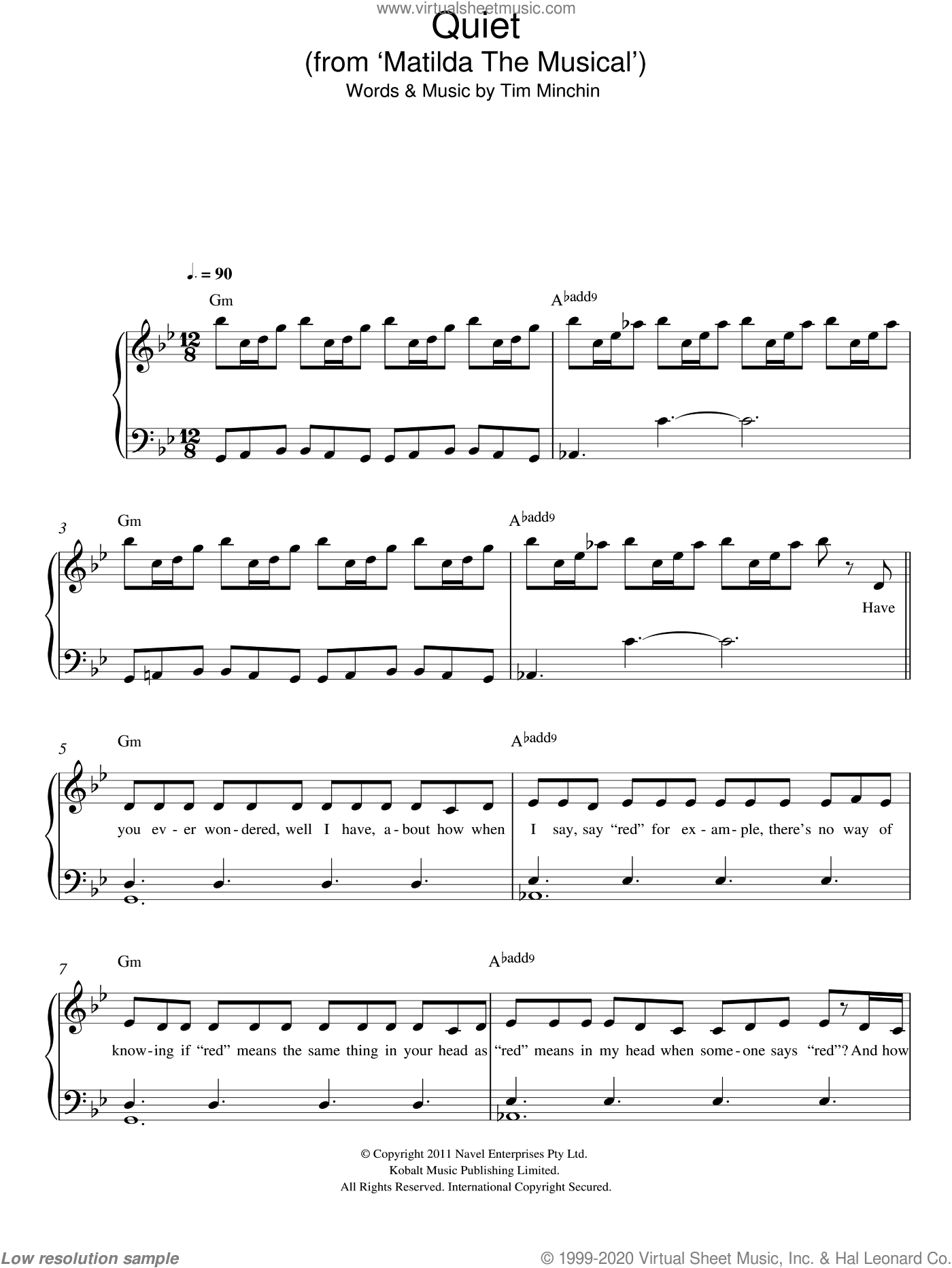 Quiet ('From Matilda The Musical') sheet music for piano solo by Tim Minchin. Score Image Preview.