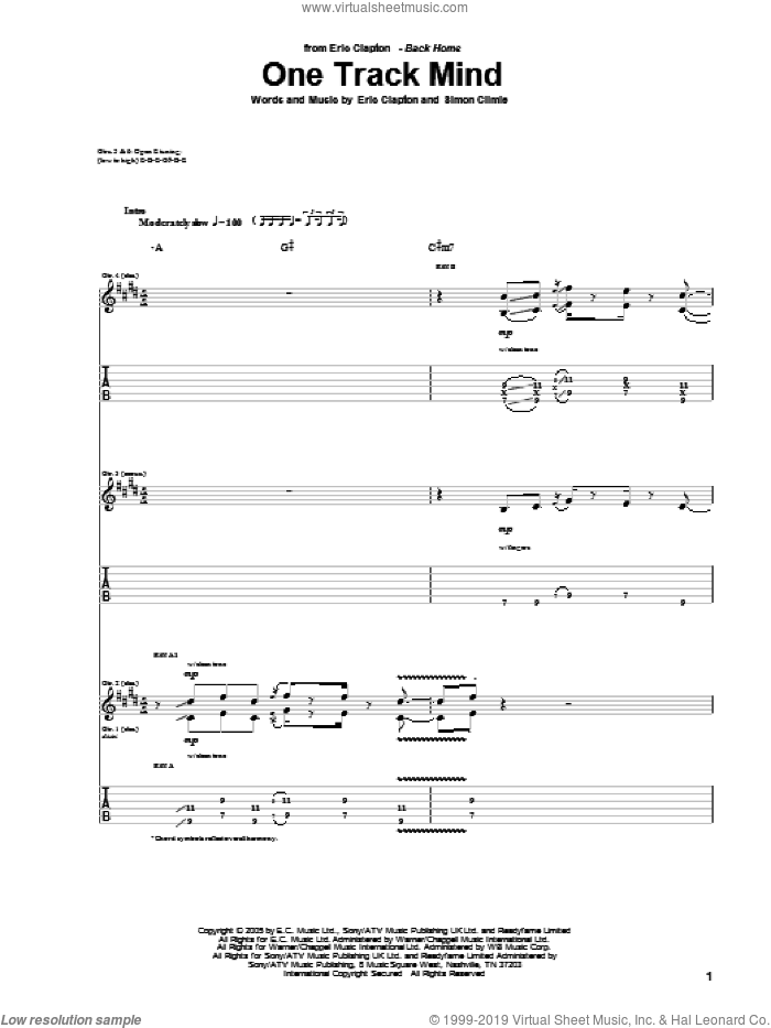 One Track Mind sheet music for guitar (tablature) by Eric Clapton and Simon Climie, intermediate skill level