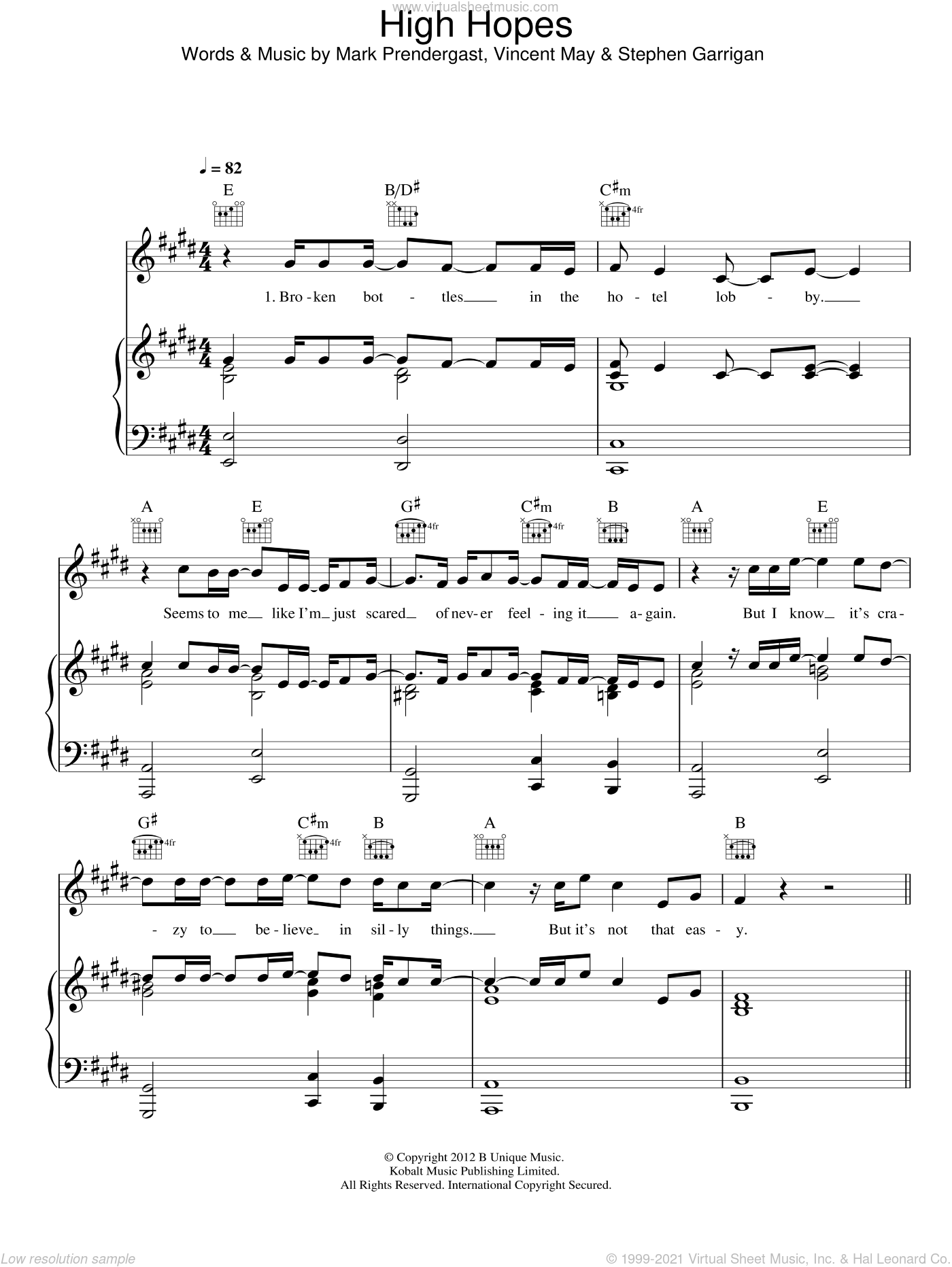 High Hopes sheet music for voice, piano or guitar by Kodaline, Mark Prendergast, Stephen Garrigan and Vincent May, intermediate skill level