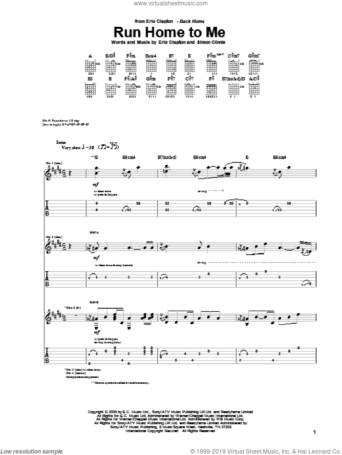 Run Home To Me sheet music for guitar (tablature) by Simon Climie and Eric Clapton. Score Image Preview.