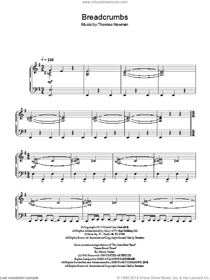 Breadcrumbs sheet music for piano solo by Thomas Newman. Score Image Preview.