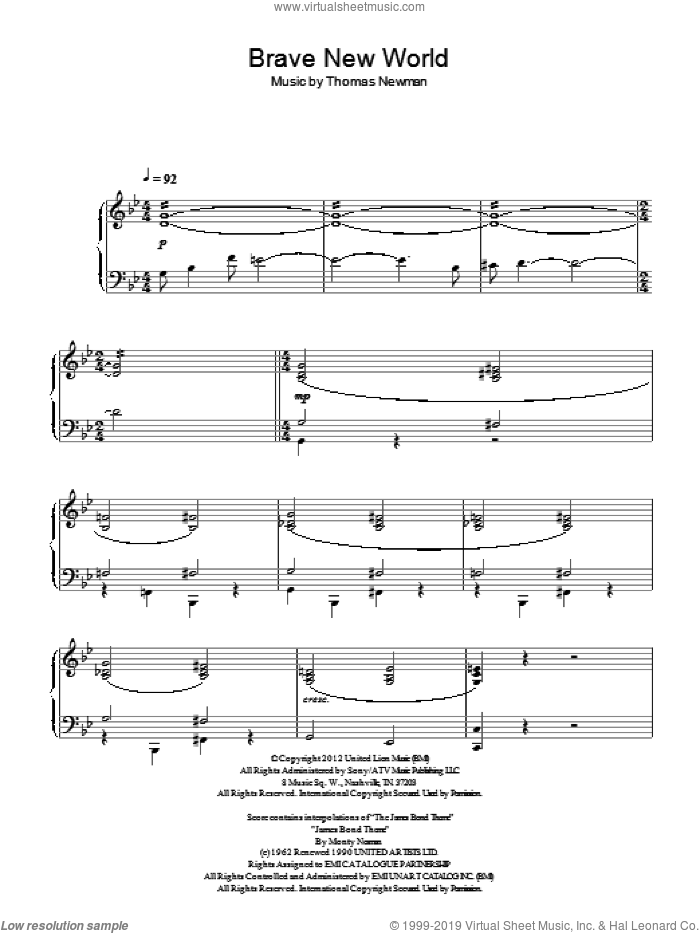 Brave New World sheet music for piano solo by Thomas Newman, intermediate skill level