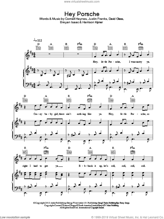 Hey Porsche sheet music for voice, piano or guitar by Justin Franks, Nelly, Breyan Isaac and Cornell Haynes. Score Image Preview.