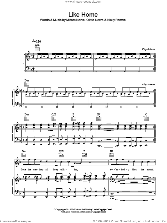 Like Home sheet music for voice, piano or guitar by Olivia Nervo