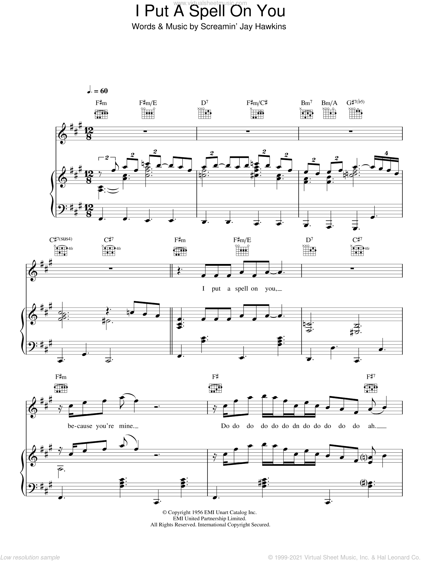 I Put A Spell On You sheet music for voice, piano or guitar by Screamin' Jay Hawkins