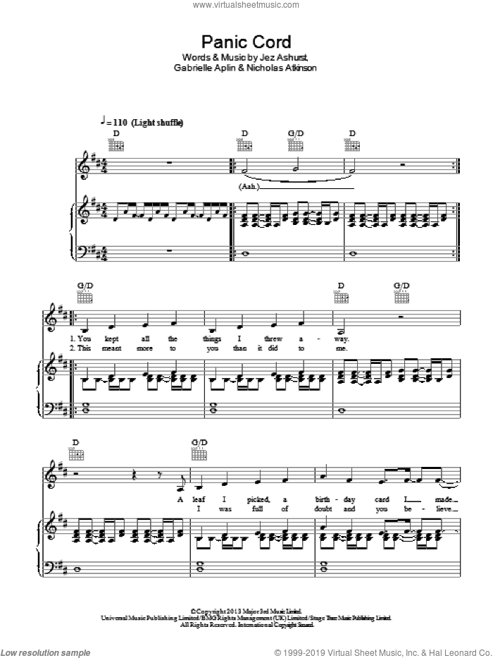 Panic Cord sheet music for voice, piano or guitar by Nicholas Atkinson, Gabrielle Aplin and Jez Ashurst. Score Image Preview.