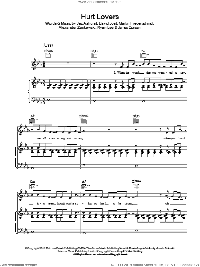 Hurt Lovers sheet music for voice, piano or guitar , Alexander Zuckowski, David Jost, James Duncan, Jez Ashurst, Martin Fliegenschmidt and Ryan Lee, intermediate. Score Image Preview.