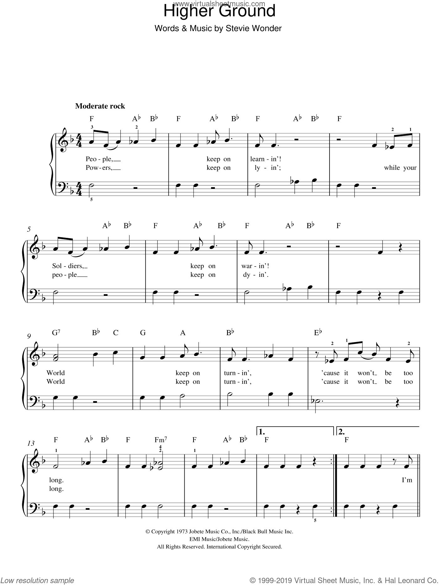 Higher Ground sheet music for piano solo by Stevie Wonder. Score Image Preview.