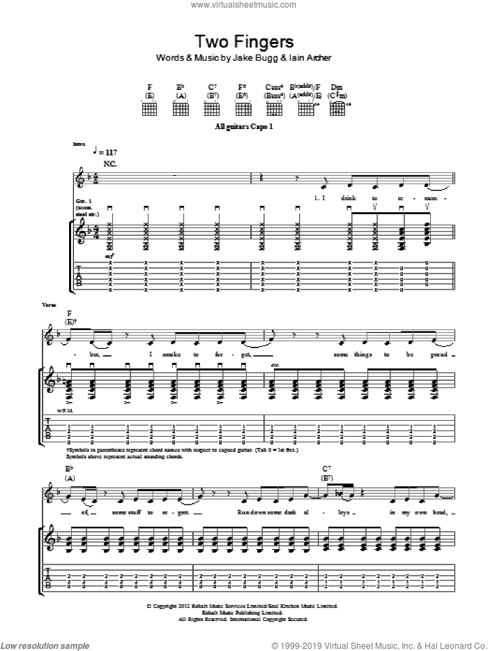 Two Fingers sheet music for guitar (tablature) by Jake Bugg, intermediate. Score Image Preview.