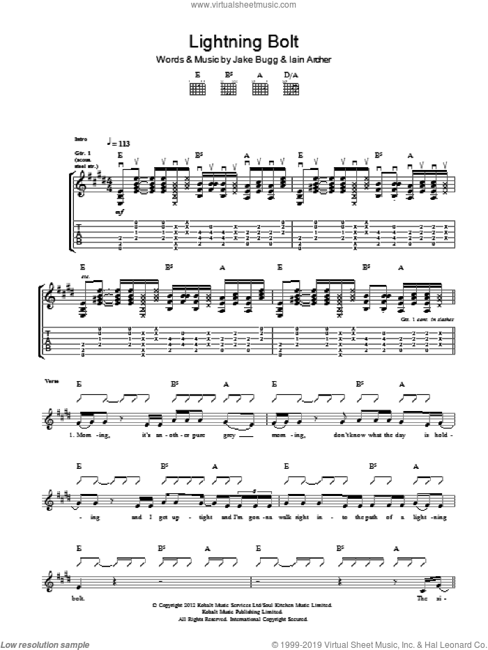 Lightning Bolt sheet music for guitar (tablature) by Iain Archer and Jake Bugg. Score Image Preview.