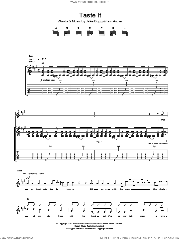 Taste It sheet music for guitar (tablature) by Jake Bugg and Iain Archer, intermediate. Score Image Preview.