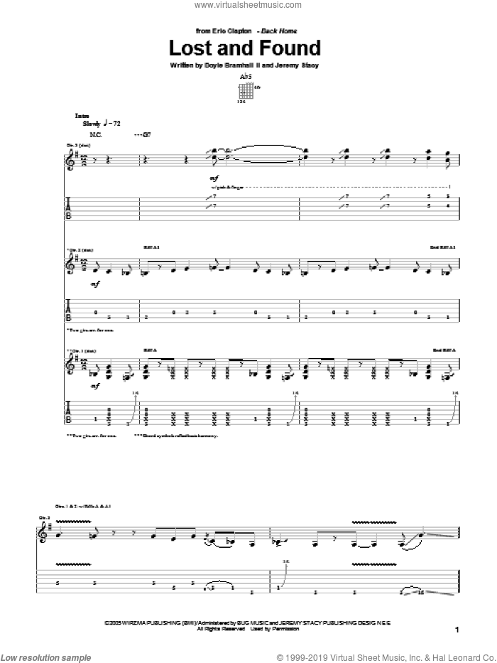 Lost And Found sheet music for guitar (tablature) by Eric Clapton, Doyle Bramhall and Jeremy Stacy, intermediate. Score Image Preview.