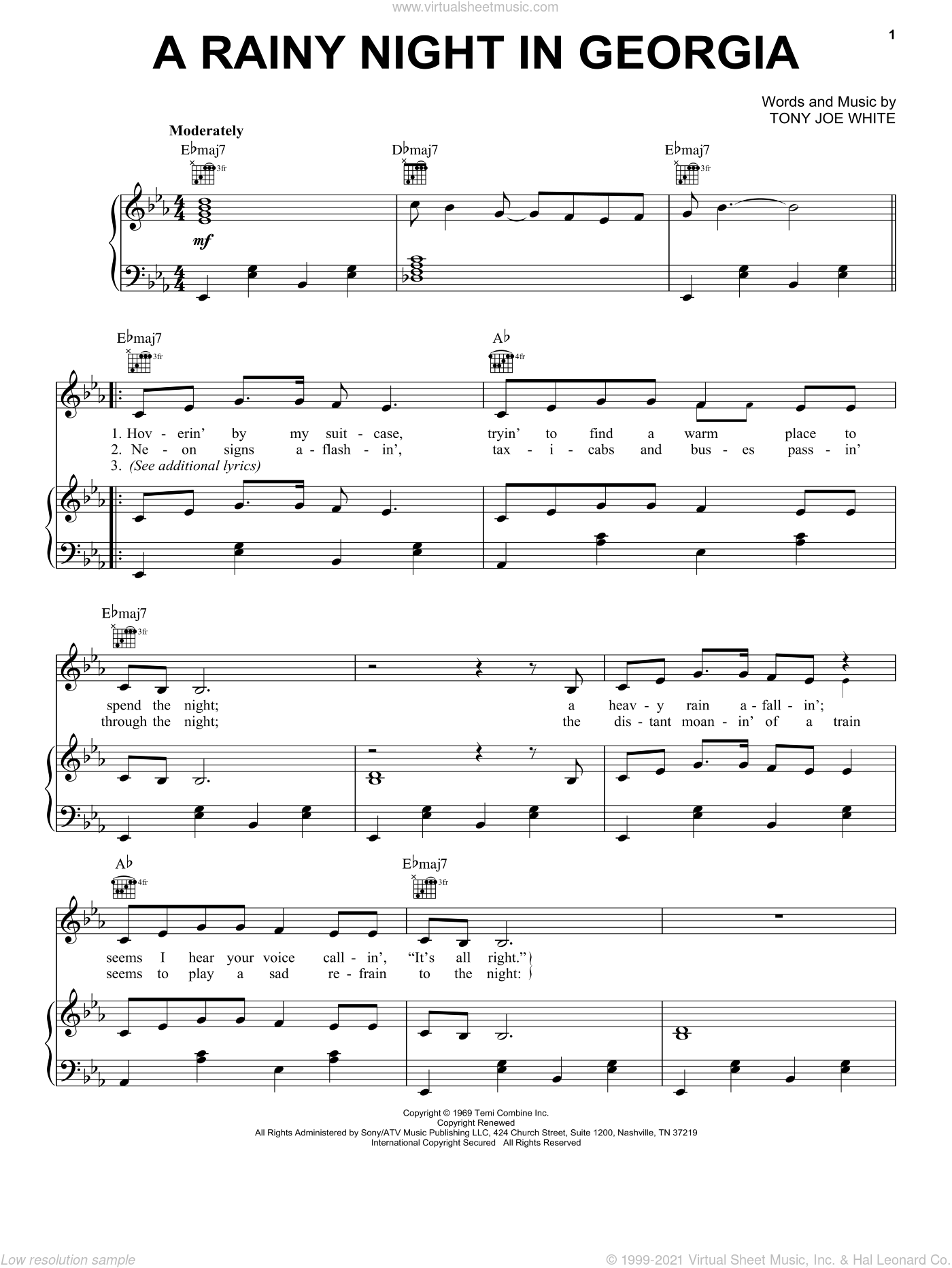 A Rainy Night In Georgia sheet music for voice, piano or guitar by Brook Benton and Tony Joe White, intermediate skill level