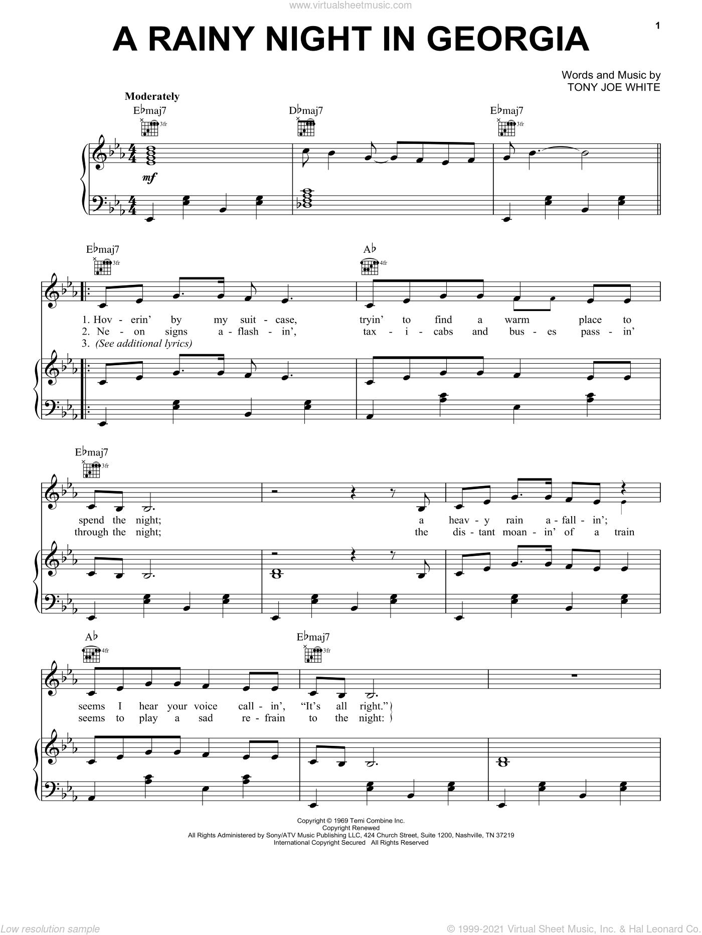 A Rainy Night In Georgia sheet music for voice, piano or guitar by Brook Benton and Tony Joe White, intermediate skill level