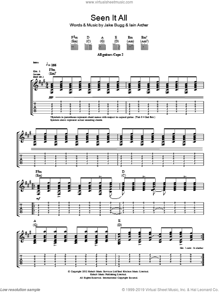 Seen It All sheet music for guitar (tablature) by Iain Archer and Jake Bugg