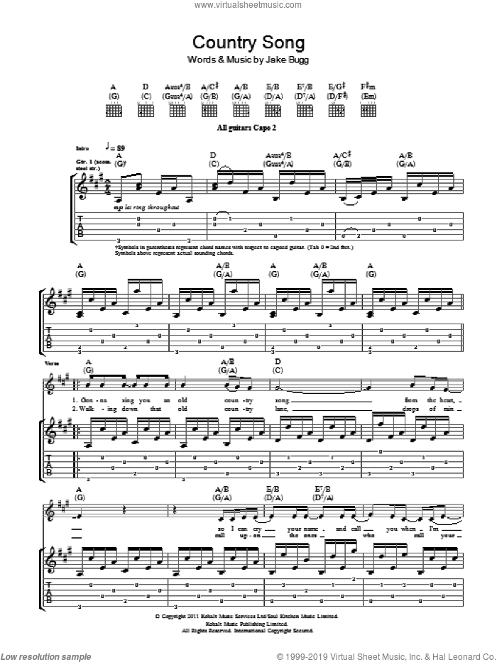 Country Song sheet music for guitar (tablature) by Jake Bugg. Score Image Preview.