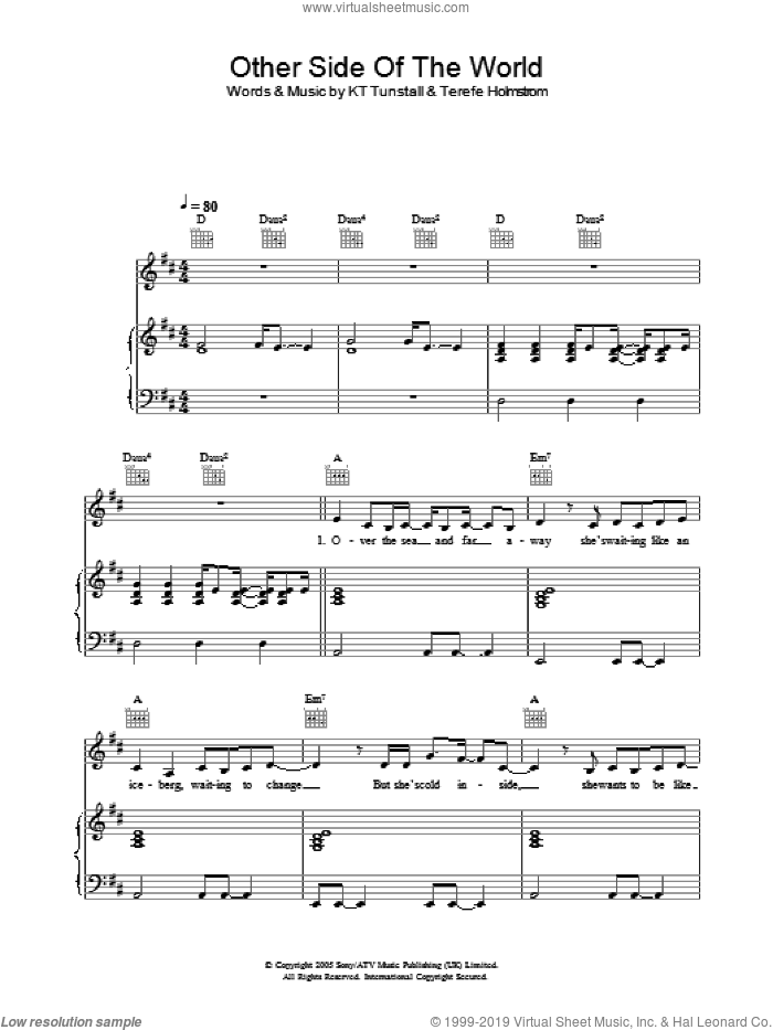 Other Side Of The World sheet music for voice, piano or guitar by Martin Terefe