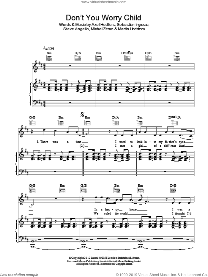 Don't You Worry Child sheet music for voice, piano or guitar by Swedish House Mafia, Axel Hedfors, Martin Lindstrom, Michel Zitron, Sebastian Ingrosso and Steve Angello, intermediate skill level