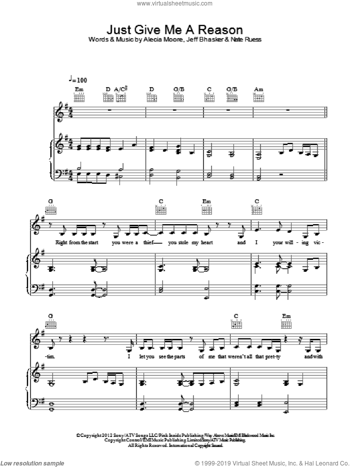 Just Give Me A Reason sheet music for voice, piano or guitar by Jeff Bhasker, Miscellaneous, Alecia Moore and Nate Ruess, intermediate skill level