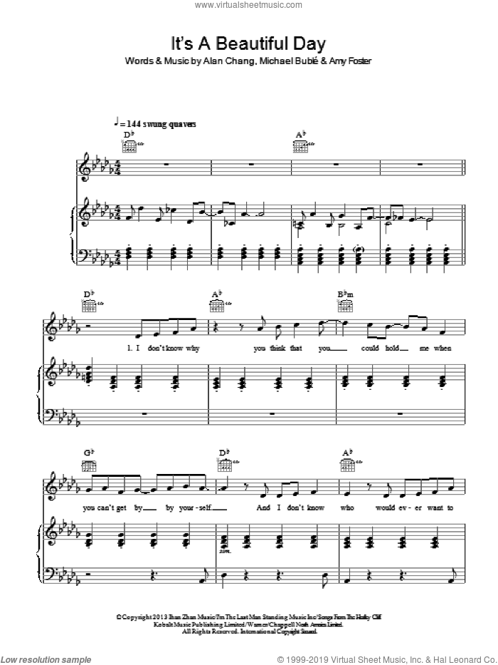 It's A Beautiful Day sheet music for voice, piano or guitar by Amy Foster, Alan Chang and Michael Buble. Score Image Preview.