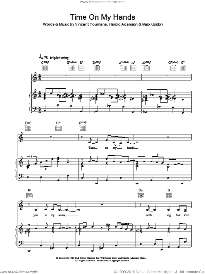 Time On My Hands sheet music for voice, piano or guitar by Vincent Youmans