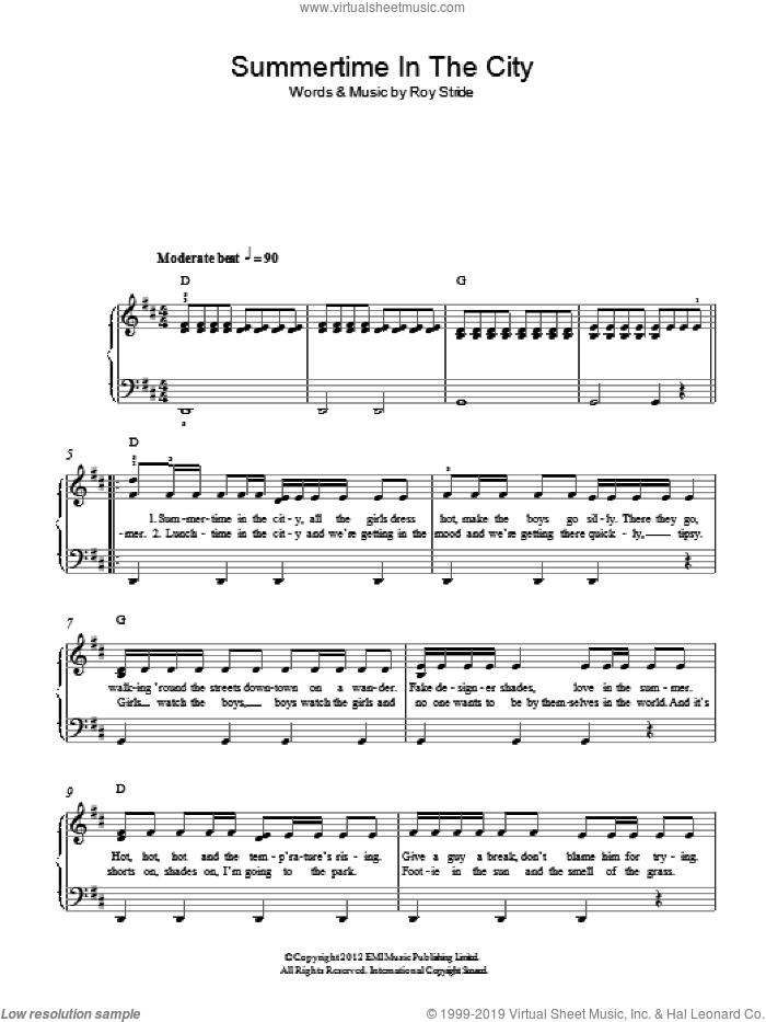 Summertime In The City sheet music for piano solo by Scouting For Girls, easy piano. Score Image Preview.