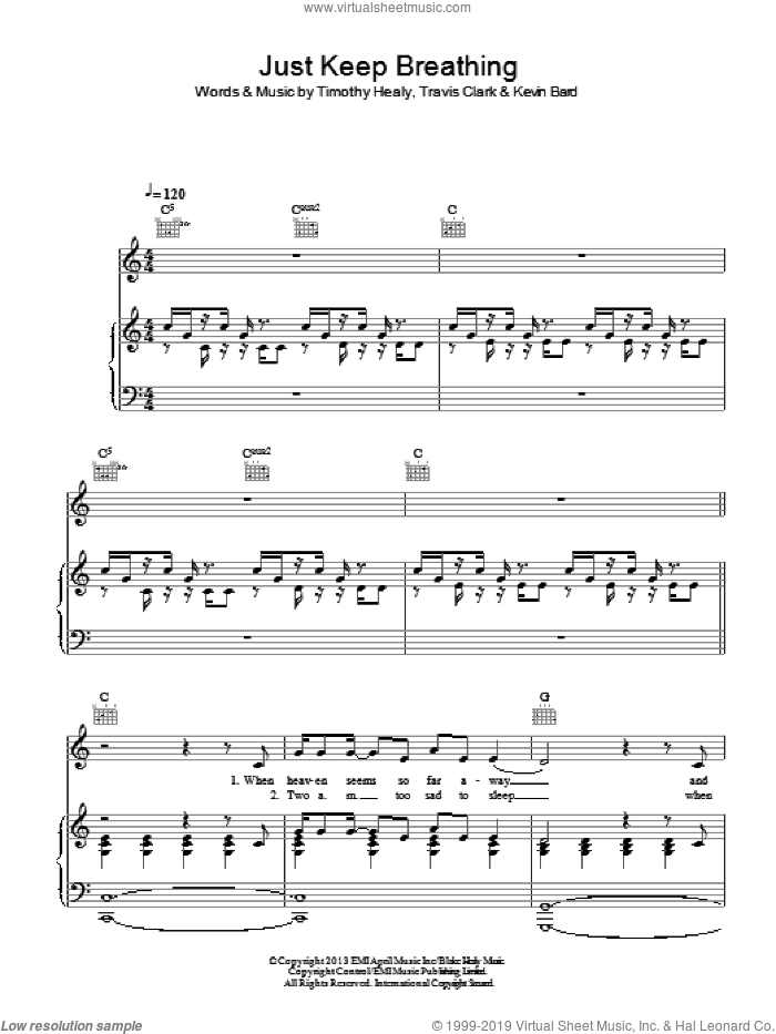 Just Keep Breathing sheet music for voice, piano or guitar by We The Kings, Kevin Bard, Timothy Healy and Travis Clark, intermediate skill level