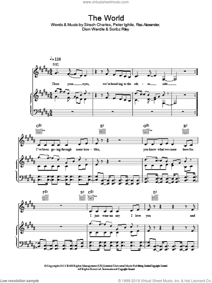 The World sheet music for voice, piano or guitar by Angel, Dion Wardle, Peter Ighile, Ras Alexander, Scribz Riley and Sirach Charles, intermediate. Score Image Preview.